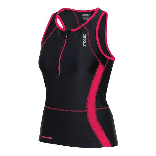 Womens 2XU Perform Tri Singlet Sleeveless & Tank Technical Tops - Black/Cherry Pink L