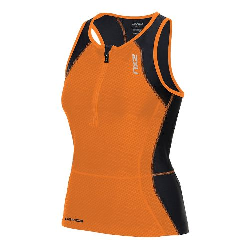 Womens 2XU Perform Tri Singlet Sleeveless & Tank Technical Tops - Orange Print/Black XS