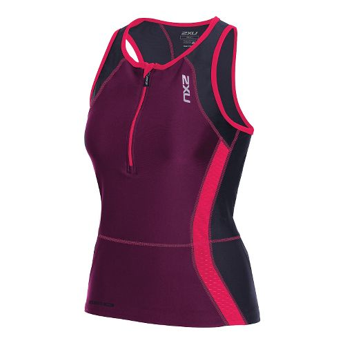 Womens 2XU Perform Tri Singlet Sleeveless & Tank Technical Tops - Black/Cherry Pink S