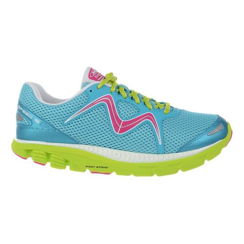 Womens MBT Speed 16 Lace Up Running Shoe - Blue/Lime/Fuchsia 10