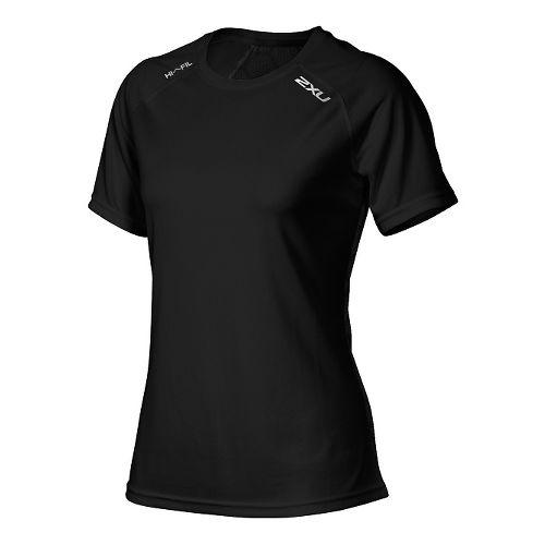 Womens 2XU Tech Vent Short Sleeve Technical Tops - Black/Black M