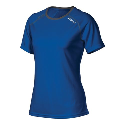 Womens 2XU Tech Vent Short Sleeve Technical Tops - Cobalt Blue/Ink L