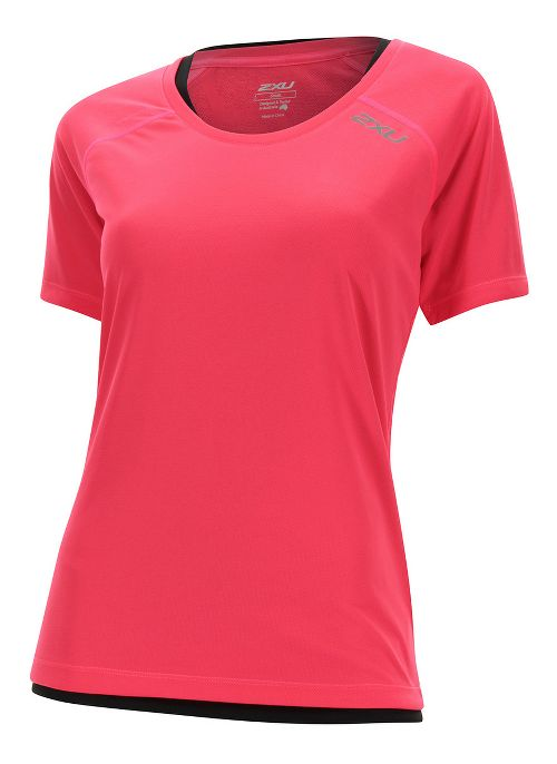 Womens 2XU Tech Vent Short Sleeve Technical Tops - Pink Glow/ Pink Glow S