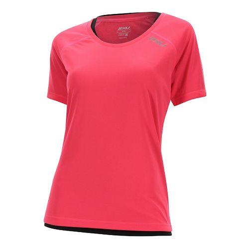 Womens 2XU Tech Vent Short Sleeve Technical Tops - Pink Glow/ Pink Glow L