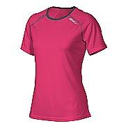 Womens 2XU Tech Vent Short Sleeve Technical Tops - Cherry Pink/Ink S