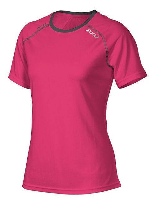 Womens 2XU Tech Vent Short Sleeve Technical Tops - Cherry Pink/Ink M