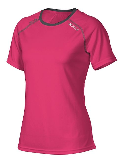 Womens 2XU Tech Vent Short Sleeve Technical Tops - Cherry Pink/Ink XS