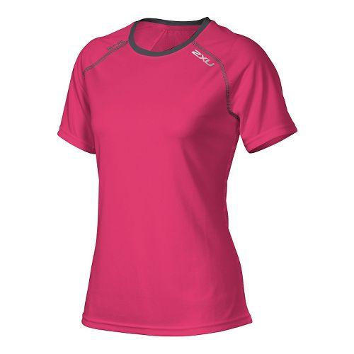 Womens 2XU Tech Vent Short Sleeve Technical Tops - Cherry Pink/Ink L