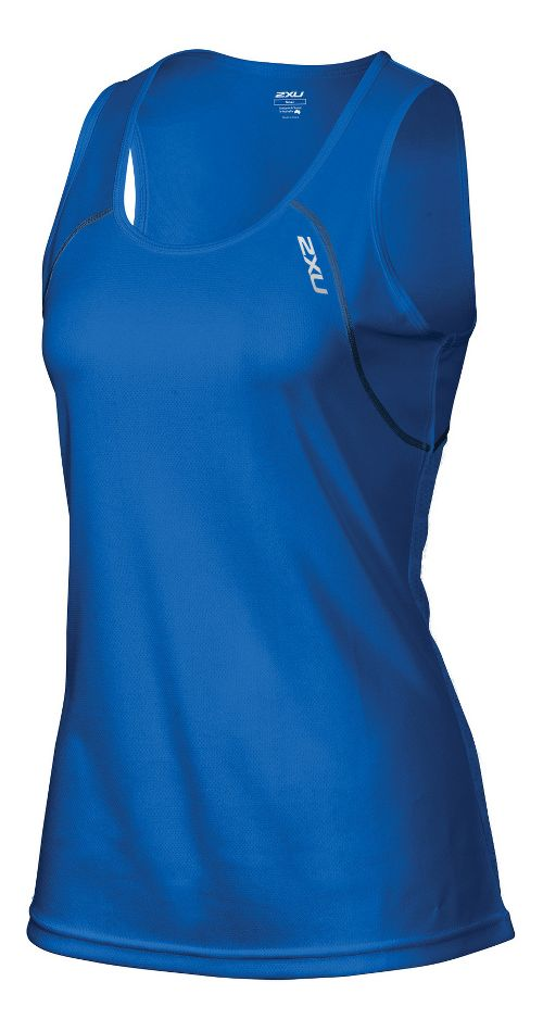 Womens 2XU Tech Vent Singlet Sleeveless & Tank Technical Tops - Cobalt Blue/Ink S