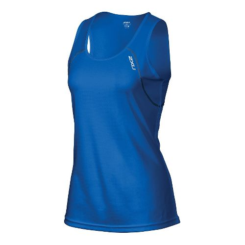 Womens 2XU Tech Vent Singlet Sleeveless & Tank Technical Tops - Cobalt Blue/Ink L