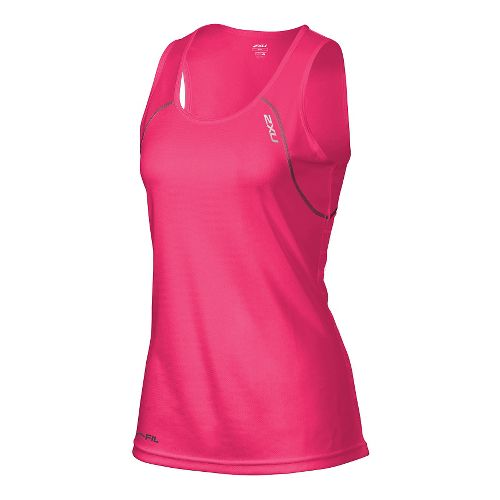 Womens 2XU Tech Vent Singlet Sleeveless & Tank Technical Tops - Cherry Pink/Ink L