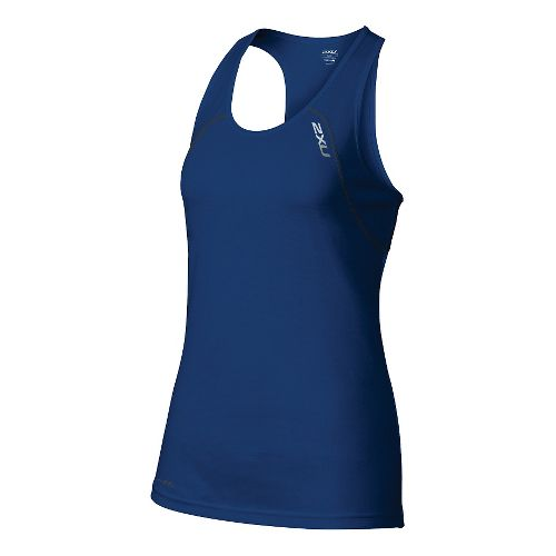 Womens 2XU Tech Vent Sleeveless & Tank Tops Technical Tops - Cobalt Blue/Ink M