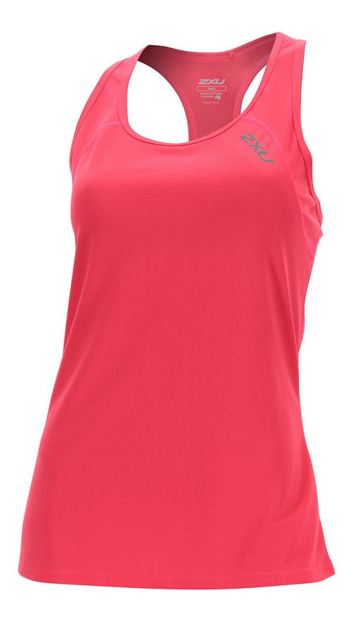 Womens 2XU Tech Vent Sleeveless & Tank Tops Technical Tops - Pink Glow/ Pink Glow XS