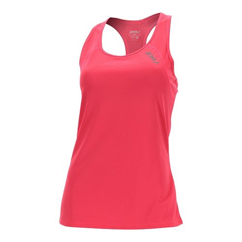 Womens 2XU Tech Vent Sleeveless & Tank Tops Technical Tops - Pink Glow/ Pink Glow L