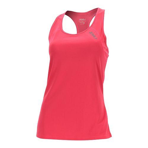 Womens 2XU Tech Vent Sleeveless & Tank Tops Technical Tops - Pink Glow/ Pink Glow XS