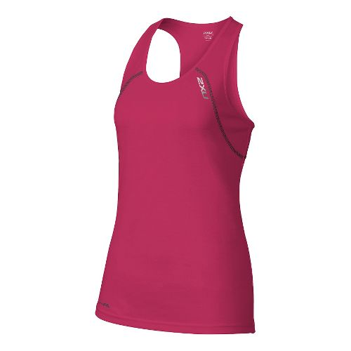 Womens 2XU Tech Vent Sleeveless & Tank Tops Technical Tops - Cherry Pink/Ink M