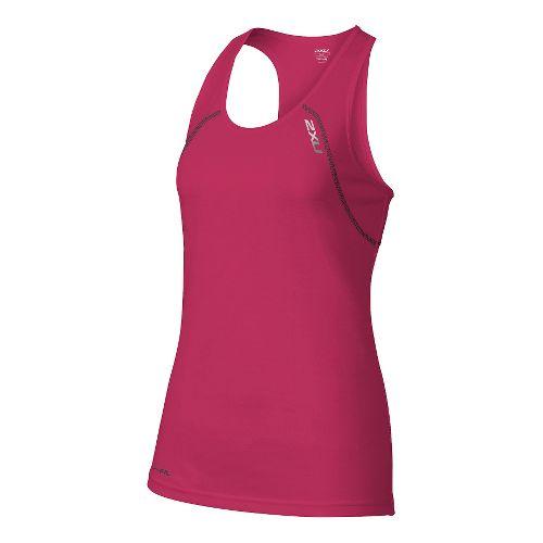 Womens 2XU Tech Vent Sleeveless & Tank Tops Technical Tops - Cherry Pink/Ink S