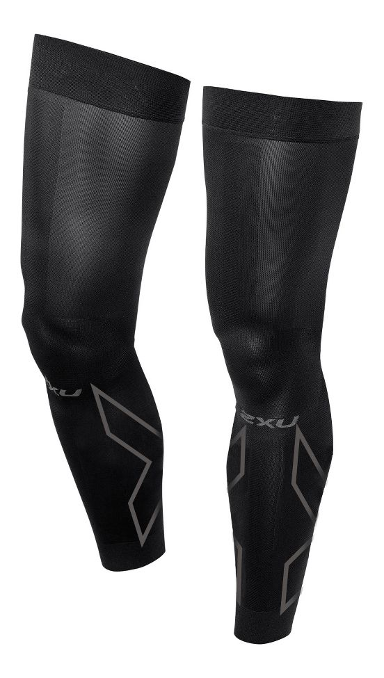 2XU® Compression Flex Leg Sleeves :: Introducing the Compression Flex Leg Sleeves featuring a flexible articulated knee zone for greater freedom of movement. Extra powerful compression to stabilize muscles and graduated fit for improved blood flow for faster warm up and post exercise recovery. The Compression Flex Leg Sleeves are an alternate choice to tights and are convenient to pull on and off under shorts or pants pre and post exercise, during travel or sleeping.   This web exclusive item ships separately within the continental U.S. only. You can count on this item to ship in 3-5 business days!