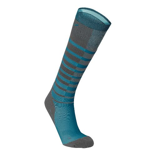 Womens 2XU Striped Run Compression Socks Injury Recovery - Grey/Carpi Blue XL