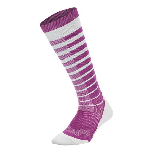 Womens 2XU Striped Run Compression Socks Injury Recovery - White/Wildaster M