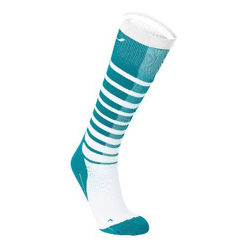 Womens 2XU Striped Run Compression Socks Injury Recovery - Capri Blue/White L