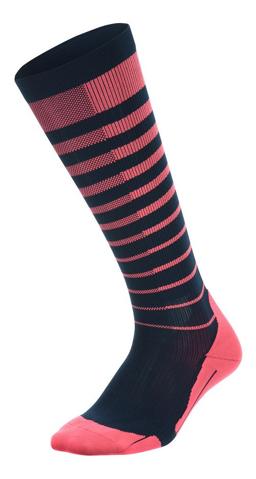 Womens 2XU Striped Run Compression Socks Injury Recovery - Pink Glow/Ombre Blue S