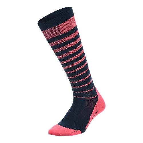 Womens 2XU Striped Run Compression Socks Injury Recovery - Pink Glow/Ombre Blue L