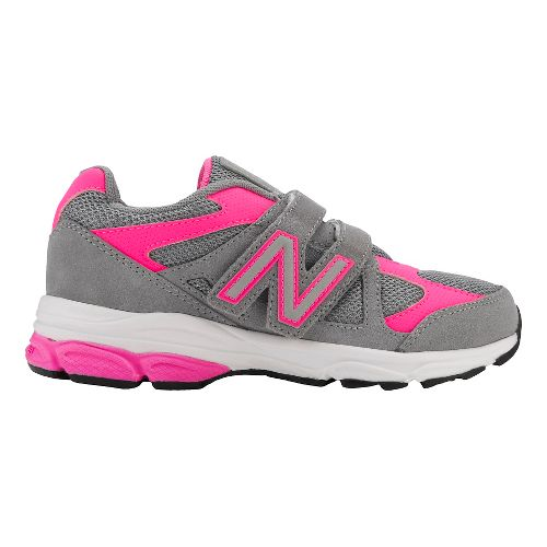 Kids New Balance 888v1 Velcro Running Shoe - Grey/Pink 11.5C