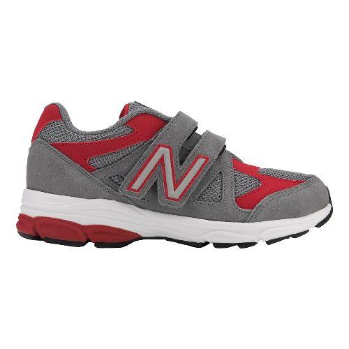 Kids New Balance 888v1 Velcro Running Shoe - Grey/Red 11C