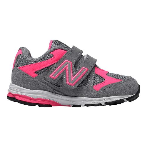 Kids New Balance 888v1 Velcro Running Shoe - Grey/Pink 4C