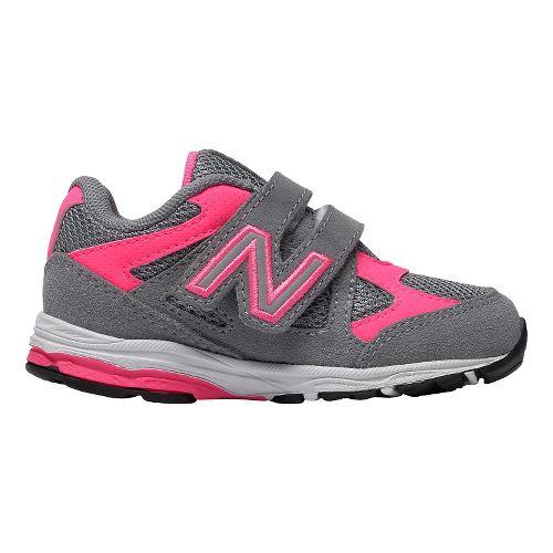 Kids New Balance 888v1 Velcro Running Shoe - Grey/Pink 9.5C