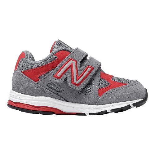 Kids New Balance 888v1 Velcro Running Shoe - Grey/Red 4C