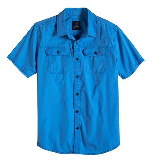 Mens prAna Barekur Short Sleeve Non-Technical Tops - Stream XL