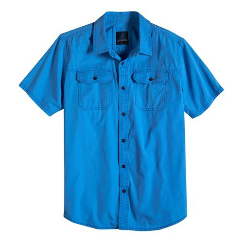 Mens prAna Barekur Short Sleeve Non-Technical Tops - Stream L