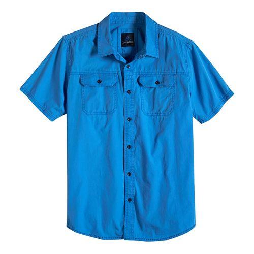 Mens prAna Barekur Short Sleeve Non-Technical Tops - Stream M