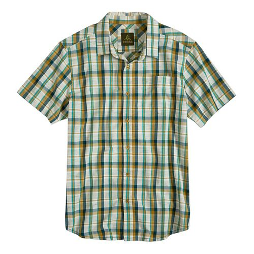 Mens prAna Tamrack Short Sleeve Non-Technical Tops - Deep Teal M