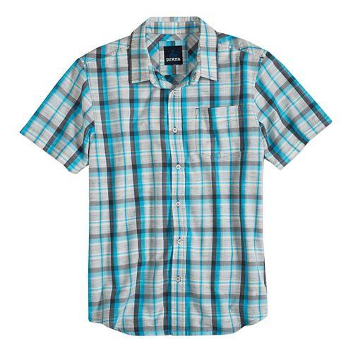 Mens prAna Tamrack Short Sleeve Non-Technical Tops - Classic Blue L