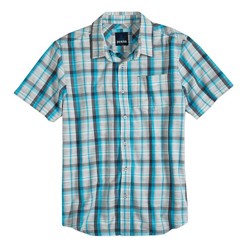 Mens prAna Tamrack Short Sleeve Non-Technical Tops - Classic Blue M