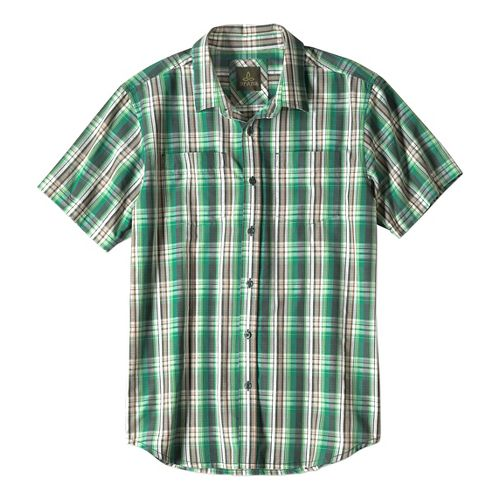 Mens prAna Holten Short Sleeve Non-Technical Tops - Evergreen L