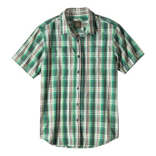 Mens prAna Holten Short Sleeve Non-Technical Tops - Evergreen M