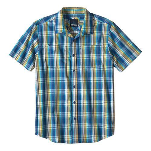 Mens prAna Holten Short Sleeve Non-Technical Tops - Pure Blue L