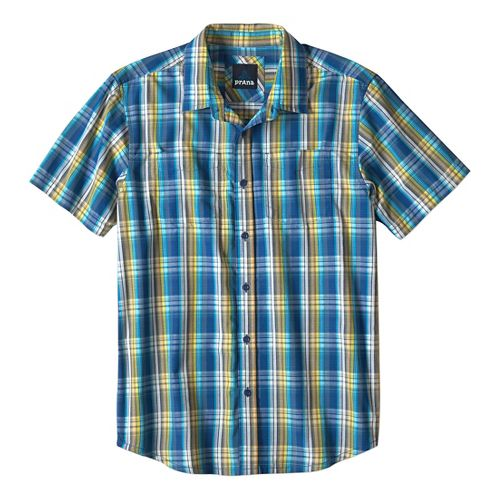 Mens prAna Holten Short Sleeve Non-Technical Tops - Pure Blue M