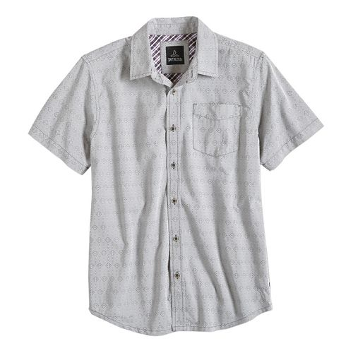 Mens prAna Voyage Short Sleeve Non-Technical Tops - Silver M