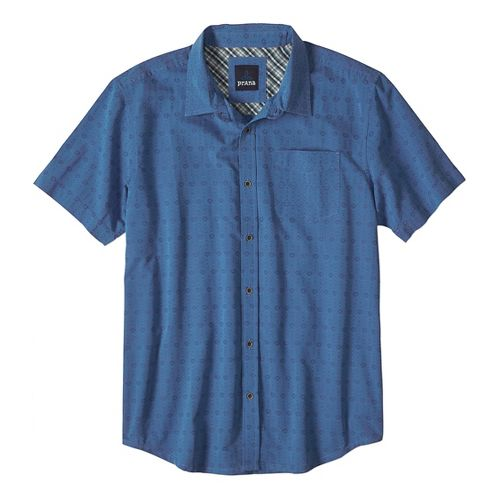 Mens prAna Voyage Short Sleeve Non-Technical Tops - Blue Ash S