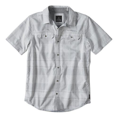 Mens prAna Marvin Short Sleeve Non-Technical Tops - Silver XL