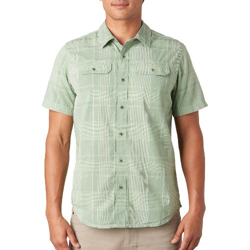 Mens prAna Marvin Short Sleeve Non-Technical Tops - Green Tint S