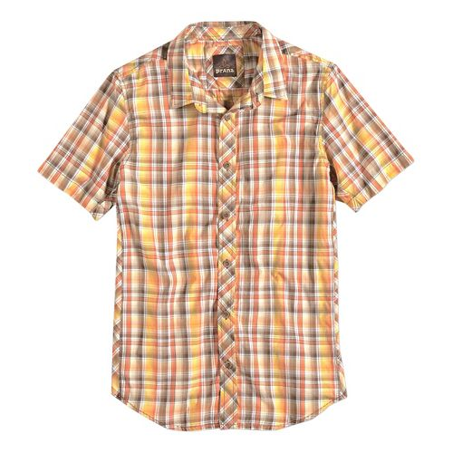 Mens prAna Elliot Slim Fit Short Sleeve Non-Technical Tops - Brown XL