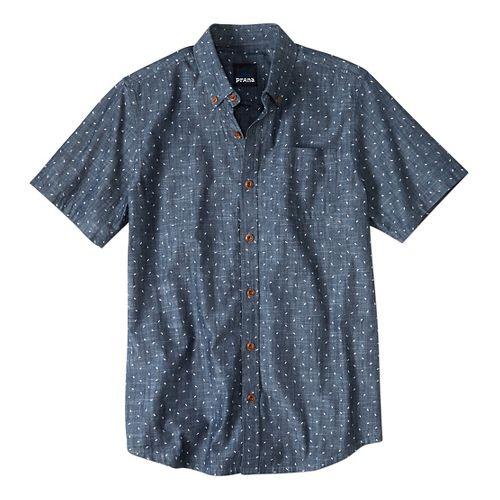 Mens prAna Broderick Slim Fit Short Sleeve Non-Technical Tops - Indigo S