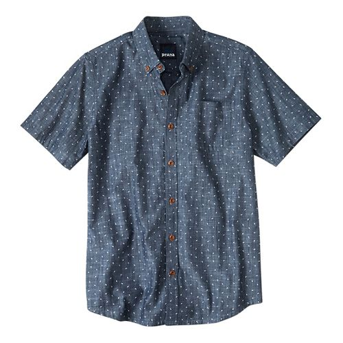 Mens prAna Broderick Slim Fit Short Sleeve Non-Technical Tops - Indigo XL