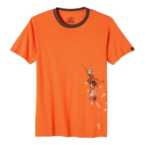 Mens prAna SquirrlN Ringer Short Sleeve Non-Technical Tops - Cayenne L